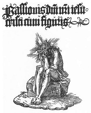 Durer - Small Passion- Title page. 1511. Woodcut. British Museum, London, UK.jpg