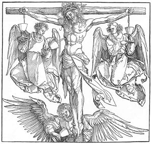 Durer - Christ on the Cross with Three Angels. 1523-1525. Woodcut. 39 x 28 cm. Graphische Sammlung Albertina, Vienna, Austria.jpg