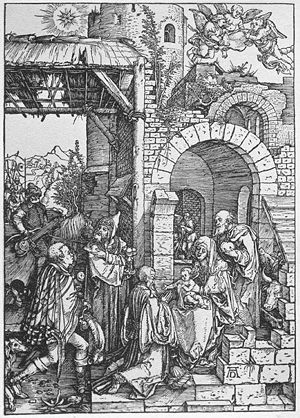 Durer - Life of the Virgin- 11. The Adoration of the Magi. 1501-1502. Woodcut. Graphische Sammlung Albertina, Vienna, Austria.jpg