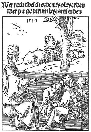 Durer - Schoolmaster. 1510. Woodcut. British Museum, London, UK.jpg